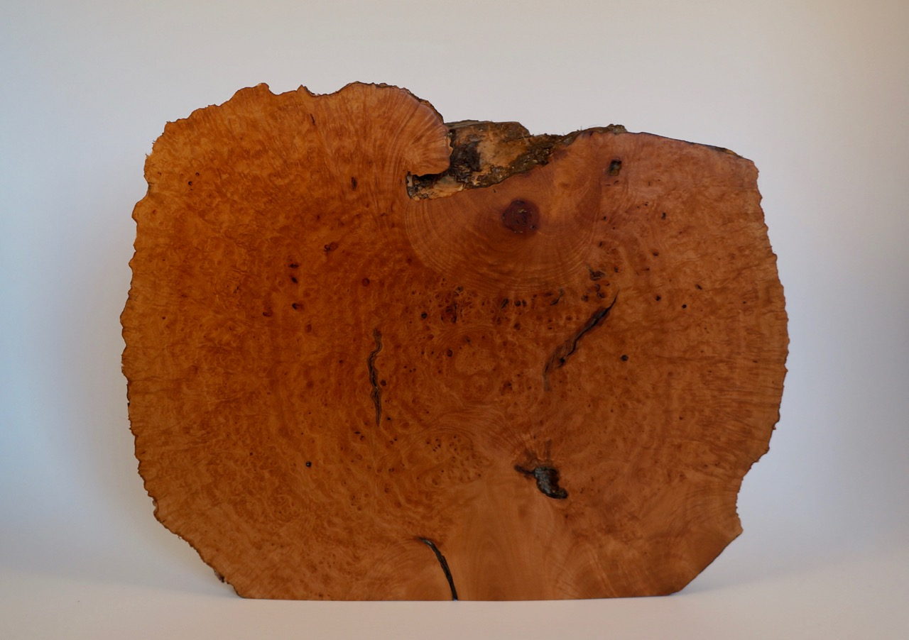 A Briar burl slab, sanded and finished