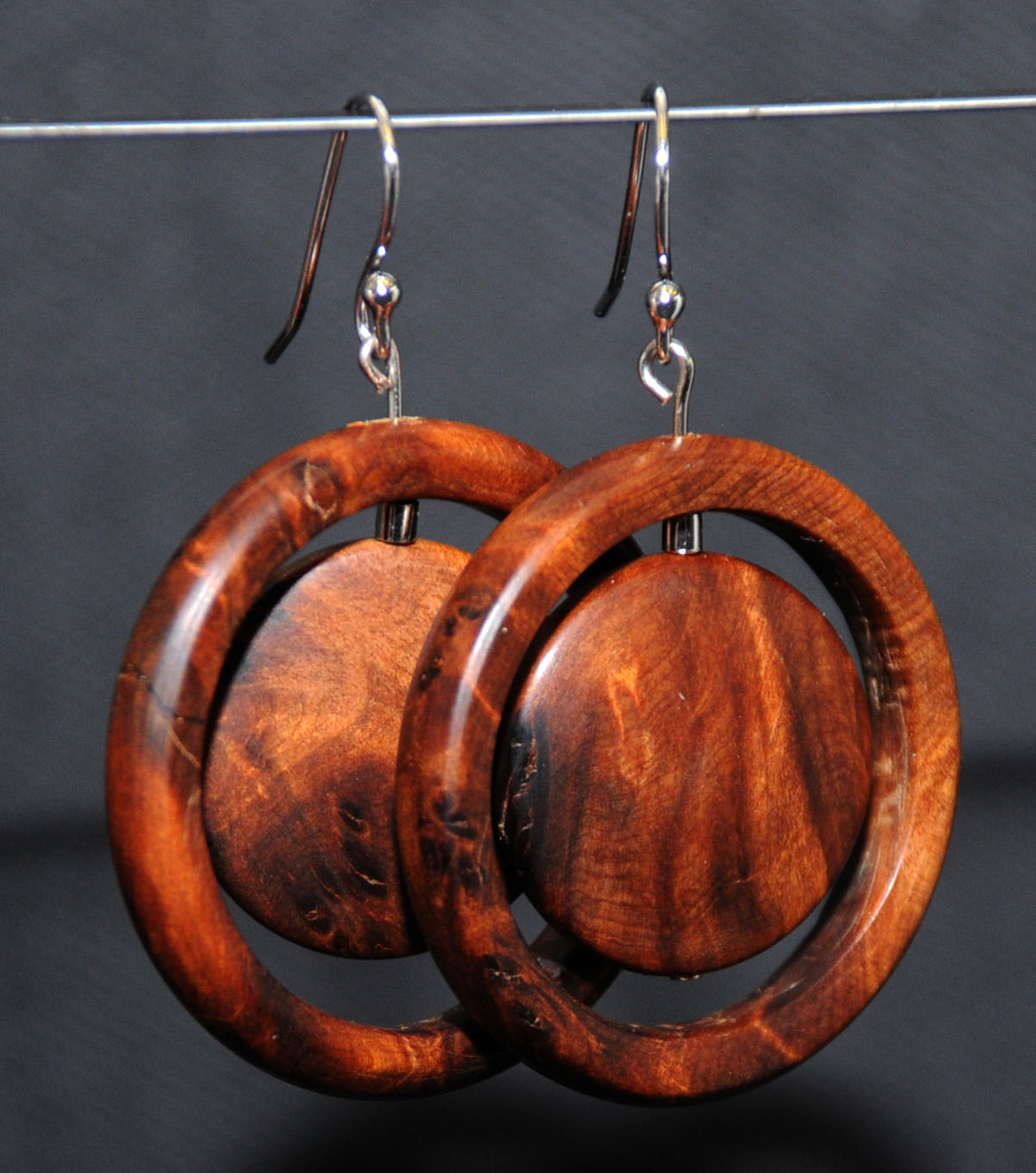Thuya Burl earrings - crafted by Ian Gilmer